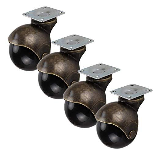 HSWJ Ruedas giratorias universales con freno de placa fija para muebles, silla de oficina, zapatos, muebles, 4 unidades (color: giratorio)