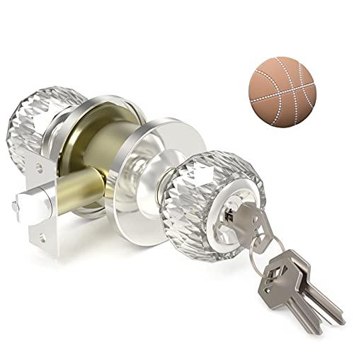 Door Knob, Door Lock with Keys for Bedroom, Security Crystal Door Knobs with Lock for Bedroom /...