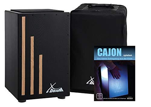 XDrum Cajon Primero Negra - Kistentrommel inkl. Rucksacktasche und Schule - Trommelkiste mit Snare Sound - Holz Drum Kiste inkl. Gigbag