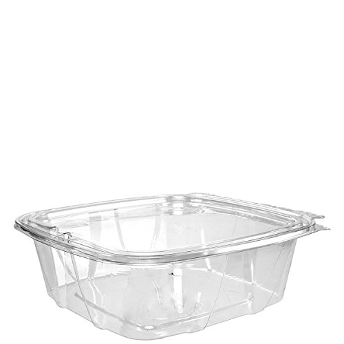 Dart CH48DEF 48 oz Tamper-Resistant Clear Hinged Container with Flat Lid (Case of 200)