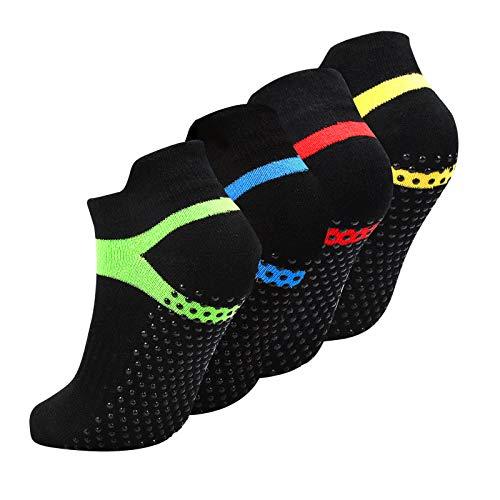4 Paare Yoga Socken Schwarz Anti Rutsch Größe 35-43, Pilates Socken rutschfest mit Noppen Stoppersocken für Damen, Herren
