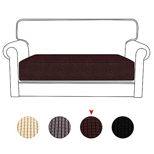 Funda de cojín universal de alta elasticidad para sofá de 1/2/3 plazas, protector de muebles de pequeño cuadro, tejido jacquard suave, funda para sillón de 26,3 x 20 x 3,5 cm (café, 3 plazas)