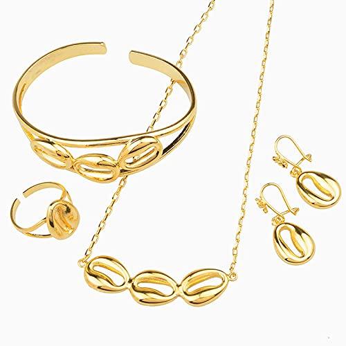 UCJHXFR Traje Etiopía para mujer / colgante para niña / collar / pendientes / anillo / pulsera oro estilo árabe africano # 062102