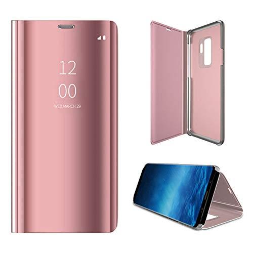 Yoedge Capa para Samsung Galaxy J8 2018, fina, luxuosa espelhada, S-View, capa traseira flip de couro PU PC proteção total à prova de choque com suporte para Samsung Galaxy J8 2018, ouro rosa