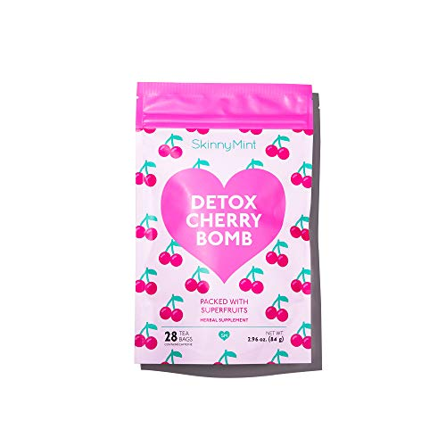 SkinnyMint Detox Cherry Bombs. (28 Tea Bags) All Natural superfruits Tea Blend to Support Your Body's Natural Detox Process.