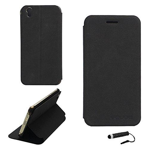 Ycloud Tasche für UMIDIGI London Hülle, PU Ledertasche Metal Smartphone Flip Cover Hülle Handyhülle mit Stand Function Schwarz