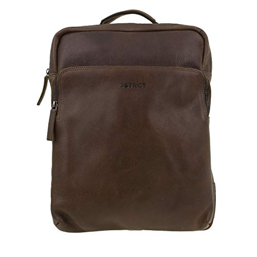 DSTRCT Raider Leren rugzak, 15,6 inch laptoptas met ritssluiting, cognac (bruin) - 360430.30