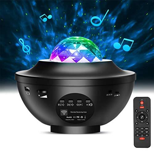 Sternenhimmel Projektor, Lachesis Sternprojektor Nachtlicht Lampe & Ozeanwellenprojektor mit Fernbedienung 10 Farben Musik ändern Bluetooth Lautsprecher Timer für Kinder Erwachsene Raumdekoration