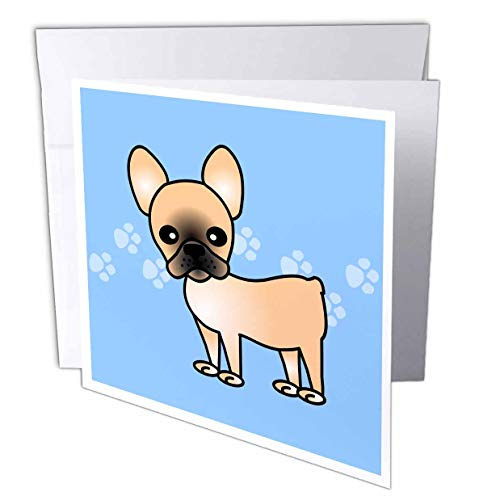 3dRose Cute Black Masked Fawn Cream French Bulldog Greeting Cards, 6' x 6', Set of 6 (gc_25344_1)