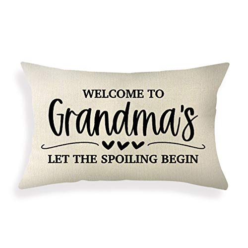 Ogiselestyle Grandma Quote Farmhouse Pillow Covers 12x20 Inch Rustic Lumbar Pillow Covers with Saying Mother's Day Birthday Gifts