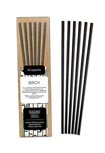 ACappella Pre-Fragranced difusor de lámina Sticks Refill Abedul - Perfume de Habitaciones Sticks Gift Set sin Soporte - No Hay líquido Necesario - 3 x 6 Piezas (Pack de 3)