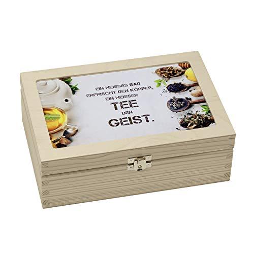 contento 866384L32 Boîte à thé Erfrischt Körper, EIN Heißer Tee Den Geist, Bois, Multicolore, 23,5x16,5x9 cm
