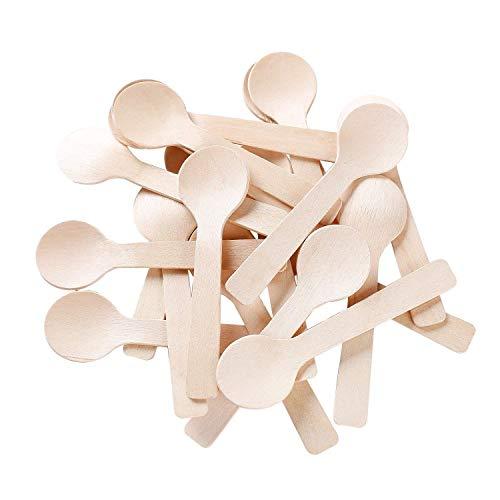 "Gmark 4"" Mini Wooden Spoons 100 ct, Biodegradable Compostable Birchwood (100pcs/bag) GM1042A"