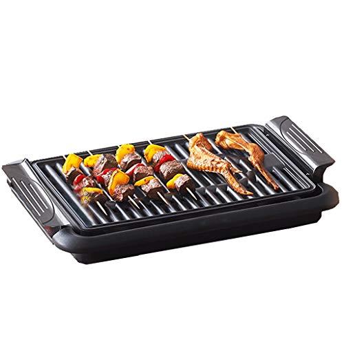 HYJBGGH Teppanyaki Grills Tischgrill Indoor, Rauchfreier Grill, 1200 W Elektrischer Grill, Antihaft-Grillspießmaschine, Stufenlose Temperaturregelung, Leicht Zu Reinigen (Color : Black)
