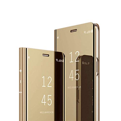 HMTECHUS Galaxy J7 Duo case Design Luxury Bookstyle Clear View Window Electroplate Plating Stand Scratchproof Full Body Protective Flip Folio Slim Cover for Samsung Galaxy J7 Duo PU Mirror:Golden MX