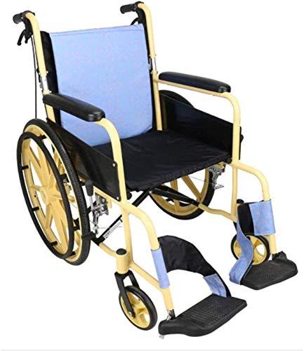GJNVBDZSF Sillas de Ruedas autodirigidas, Plegables, Ligeras, manuales, sillas de Ruedas autodirigidas, portátiles, Plegables, ortopédicas, palancas de Freno, reposapiés, apoyabrazos