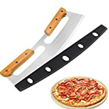 Pizza Cutter Rocker with Wooden Handles & Protective Cover by Zocy, 14' Sharp Stainless Steel Pizza Slicer Wheel , Big Pizza Knife Cutters for Kitchen Tool (14inch)
