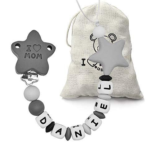 RUBY - Schnullerkette Silikon, Personalisierter Baby-Schnuller, Antibakterielles Silikon Clip Stern Schnullerkette (Grau)