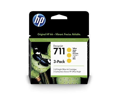 HP 711 Giallo 29-ml CZ136A, Confezione da 3 Cartucce Originali HP, compatibile con Stampanti Plotter HP DesignJet T120, T125, T130, T520, T525, T530 e Testina di Stampa DesignJet HP 711