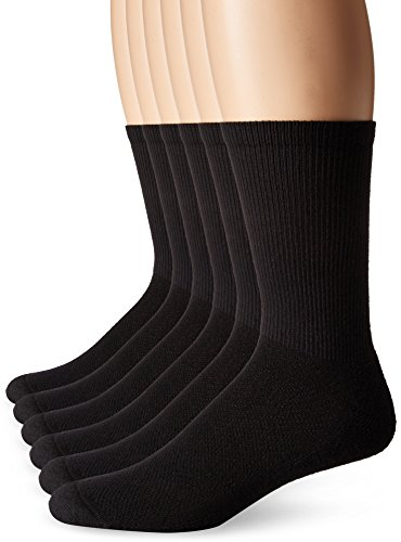 Hanes Men's FreshIQ X-Temp Comfort Cool Crew Socks, 6-Pack, Black, Shoe Size: 6-12