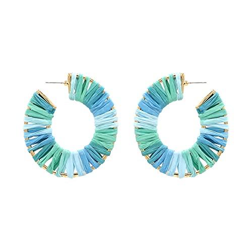 HMMJ Pendientes de botón para Mujer, Pendientes Colgantes Hechos a Mano con Forma de C de Rafia teñida, joyería de Piercings (Color : Light Blue+Light Green)