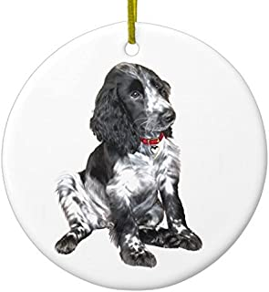 English Springer Spaniel Puppy - Black and White Ceramic Ornament CircleDesigned by Valentine Herty