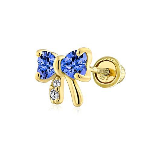 Pequeño minimalista cúbica Zirconia azul simulado zafiro CZ cartílago lóbulo de la oreja piercing Daith cinta arco 1 pieza pendientes de perno para las mujeres real 14K oro atornillado