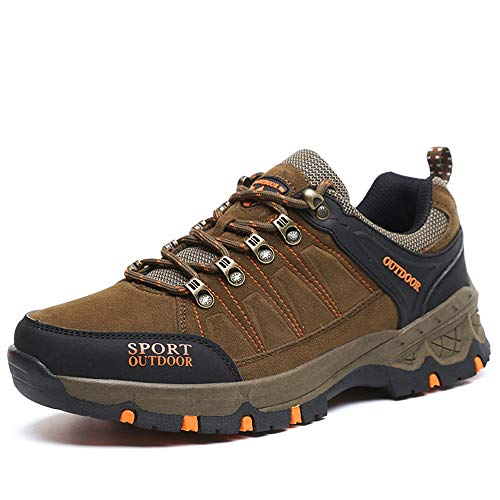CXQWAN Hommes Plus Velours Chaussures De Marche en Plein Air, Bottes d'escalade Anti-Slip Escarpins À Lacets pour Randonner Voyager Randonnée Randonnée Camping,Marron,45