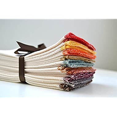 Paperless Towels, 1-Ply, Made from Organic Cotton Birdseye Fabric - 11x12 inches (28x30.5 cm) Set of 10 in Assorted Earthtone Colors