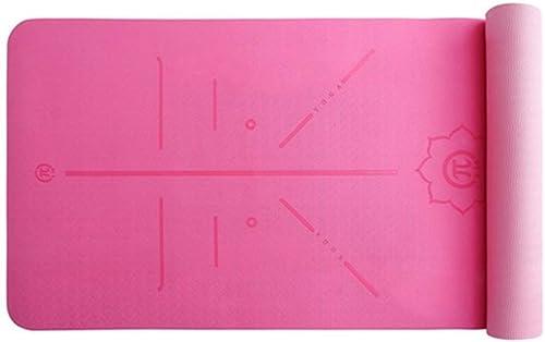 ZEQUAN Tapis de Yoga TPE BiCouleure Long épaississement équipement de Plein air Sportif (Couleur   Rose Rouge)
