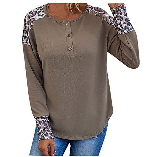 Wave166 Top de mujer monocolor con estampado de leopardo, manga larga, cuello redondo, para el tiempo libre, para otoño, gris, XL