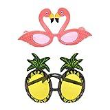 Amosfun 2 stücke Hawaiian Tropical Sonnenbrille Ananas Flamingo Sonnenbrille Hawaii Party Fruit Brillen Kostüm Requisiten für Hawaii Luau Party Beach Pool Party Dekorationen