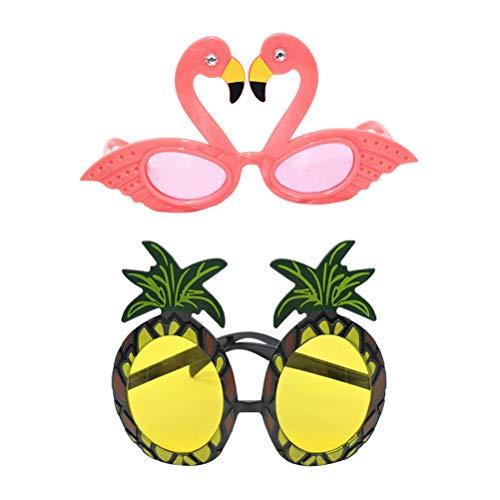 Amosfun 2 Piezas Hawaiian Gafas de Sol Piña Flamingo Partido Gafas Hawaii Dancing Beach Party Supplies