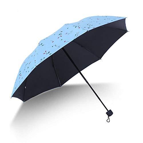 Parasol Parapluie Parapluies Pluie Floral Parapluie Pliable pour Femmes Fille UV Anti-Pluie Coloré Fleur Parapluie Bleu