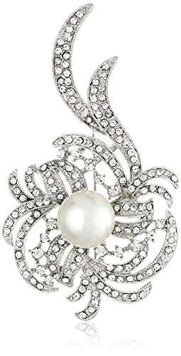 Nina Janice Pearl and Pave Crystal Swirl Brooch