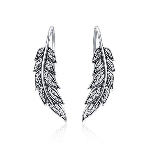 Pendientes de plumas para mujer, de plata de ley 925, con diseño de a