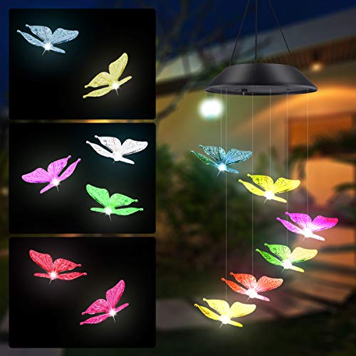 Windspiel LED Solar Schmetterling Windspiele Licht Farbe Ändern Hängen wasserdichte Lampe Dekorativ Für Patio Yard Outdoor Garten Balkon Fenster Von Guokukey