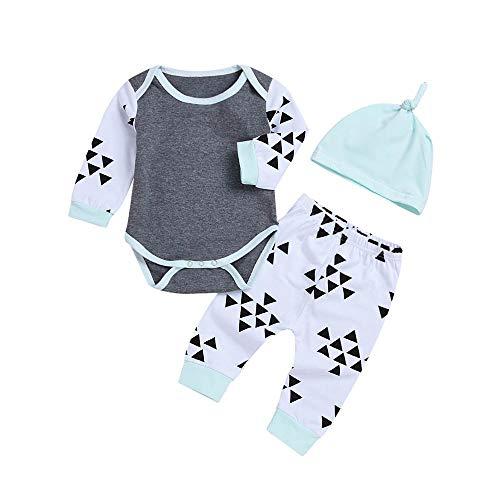 Sunday_Babykleidung Mädchen Jungen Neugeborene Set Unisex Strampler Tops+ Hosen +Hüte 3 Stück Baby Kleidung Set 0-6 Monate