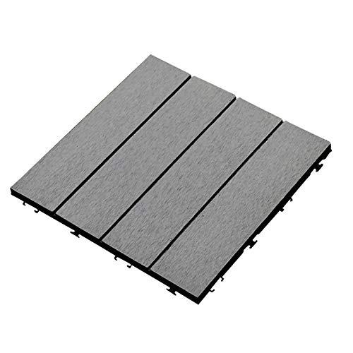 30x30cm WPC Terrassenfliese PE Matte Wetterfest,Kunststoff Bodenbelag, Drainage Klickfliesen Holz Boden für Terrassenfliesen Garten Balkon (Dark Grey)