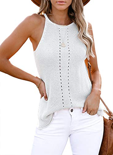 AlvaQ Halter Tank for Women Junioors Summer Casual Loose Strappy Camis Sleeveless Shirts Blouses Plus Size White 1X