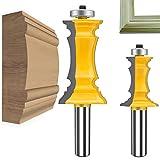 MAYLINE 1/2 pulgadas vástago Router Bit Set 2 piezas, marco de inglete de madera corona moldura fresadora de fresado, carburo carpintería herramienta de corte CNC para puertas, tablas (Y-1/2MK)