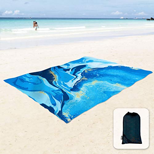 Sunlit Silky Soft 85x72 Sand Proof Beach Blanket Sand Proof Mat with Corner Pockets and Mesh Bag for Beach Party, Travel, Camping and Outdoor Music Festival, Ocean Blue Water Flow, Quicksand