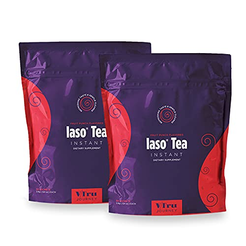 TLC Total Life Changes Fruit Punch Flavored IASO Natural Detox Refreshing Instant Tea (60 Sachets)