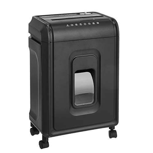 Amazon Basics - Trituradora de microcorte y alta seguridad, para 8 hojas, con cesta extraíble