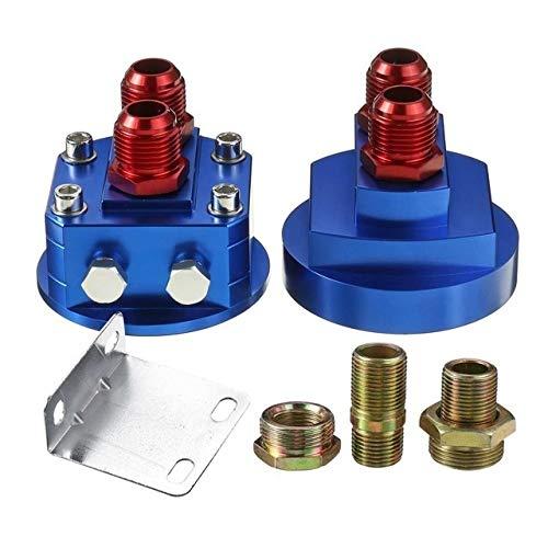 XFCNOI Filtro de Aceite de Aluminio Universal del Coche Reubicación Kit Enfriador de Aceite de la Placa de Emparedado del Adaptador Accesorios for automóviles (Color : Blue)