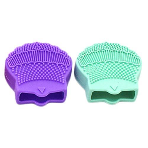 Lurrose 2 Pcs Silicone Visage Épurateur Exfoliant Nettoyage Du Visage Tampons Acné Points Noirs Enlever Visage Brosse Bébé Douche Outil Brosses Violet Vert