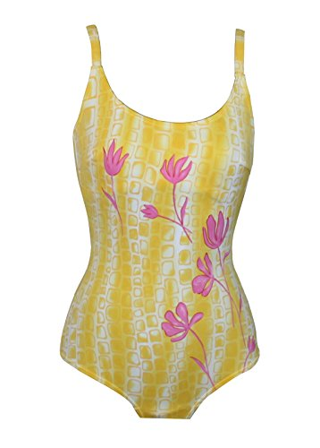 eleMar *NEU* Toller Badeanzug Gr.42 B-Cup gelb Flower Bademode Schwimmanzug