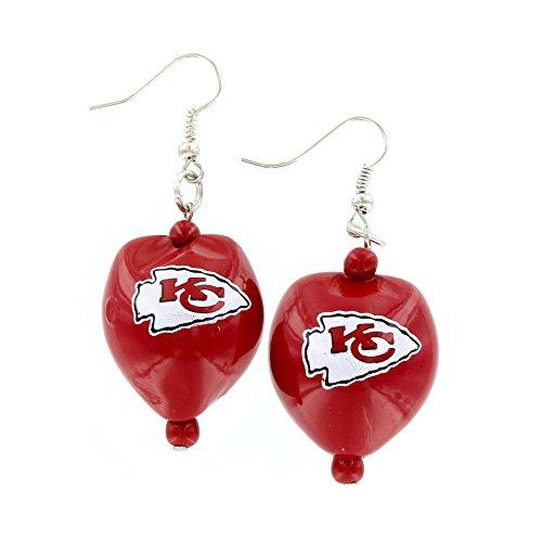 Aminco NFL Kansas City Chiefs Kukui Nut Earrings