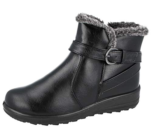 Cushion Walk Womens Ladies Lightweight Fur Lined Girls Warm Casual Comfort Winter Ankle Boots UK Sizes 3-8 (Black Grey, 3)