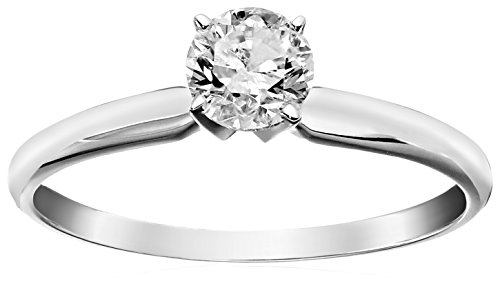 1/2 Carat Diamond, Prong Set 14kt White Gold Round Cut Solitaire Engagement Ring (H-I, I3) by La4ve Diamonds   Real Diamond Wedding Ring For Women   Gift Box Included